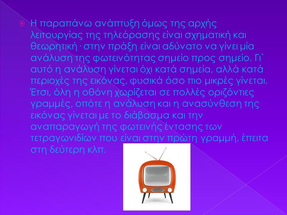 Η παραπάνω ανάπτυξη όμως της αρχής λειτουργίας της τηλεόρασης είναι σχηματική και θεωρητική· στην πράξη είναι αδύνατο να γίνει μία ανάλυση της φωτεινότητας σημείο προς σημείο.