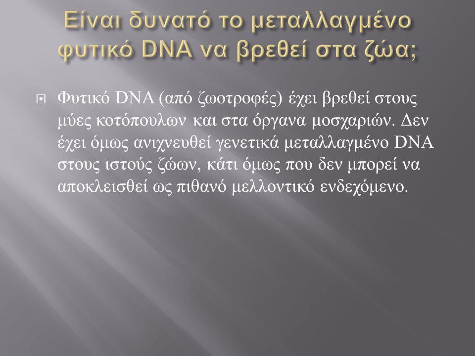 Είναι δυνατό το μεταλλαγμένο φυτικό DNA να βρεθεί στα ζώα;