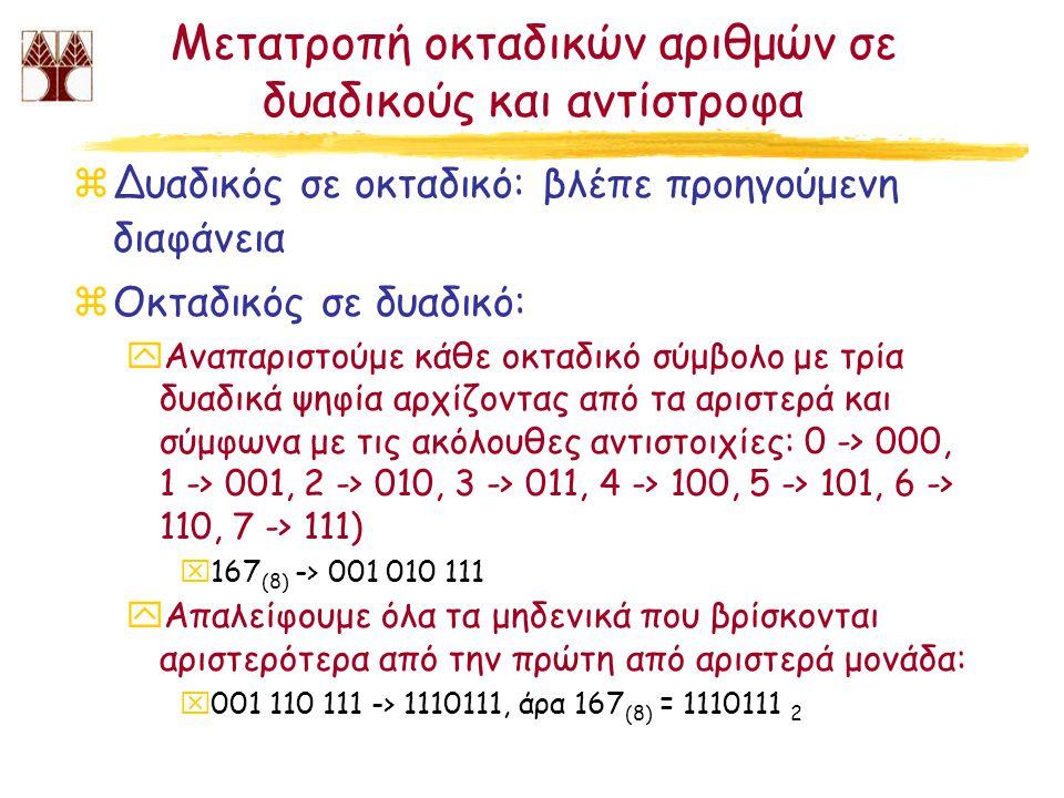 Μετατροπή οκταδικών αριθμών σε δυαδικούς και αντίστροφα
