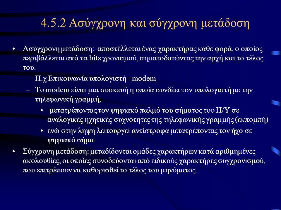 4.5.2 Ασύγχρονη και σύγχρονη μετάδοση