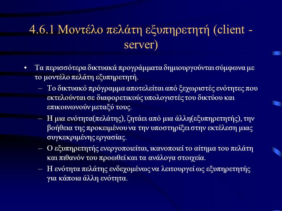 4.6.1 Μοντέλο πελάτη εξυπηρετητή (client - server)