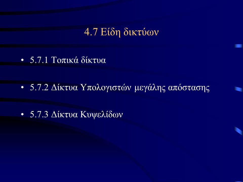 4.7 Είδη δικτύων 5.7.1 Τοπικά δίκτυα
