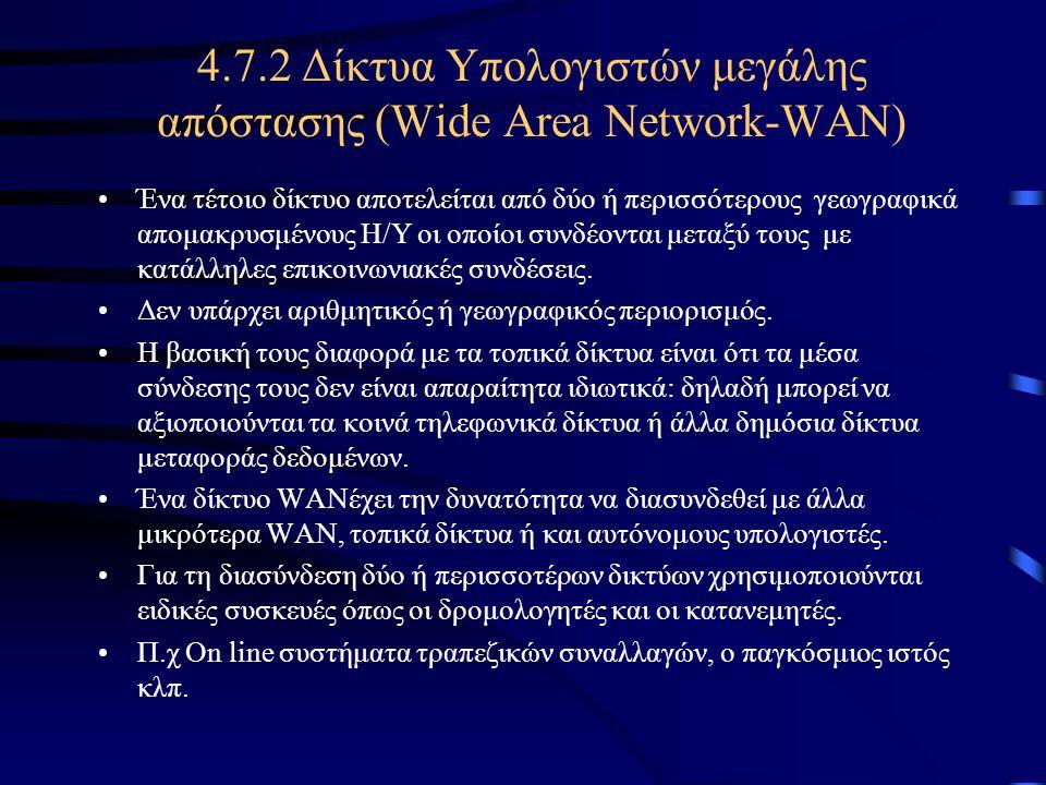 4.7.2 Δίκτυα Υπολογιστών μεγάλης απόστασης (Wide Area Network-WAN)