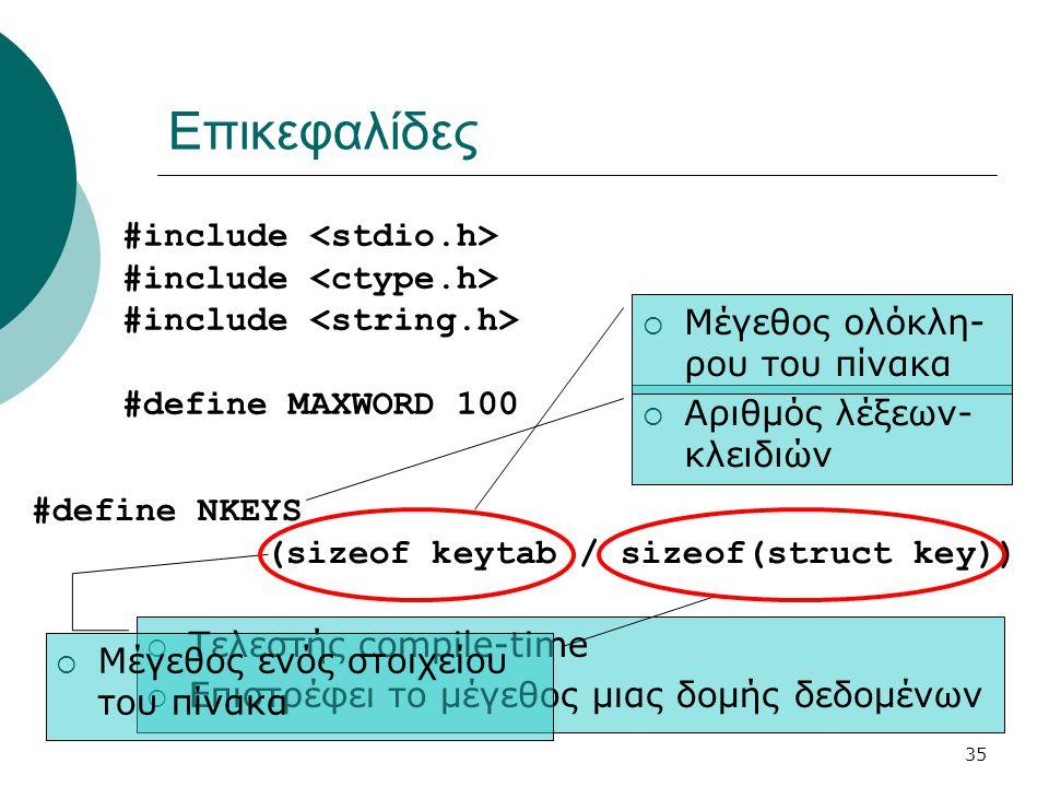 Επικεφαλίδες #include <stdio.h> #include <ctype.h>