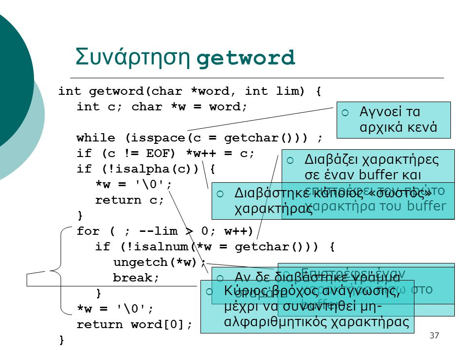 Συνάρτηση getword int getword(char *word, int lim) {