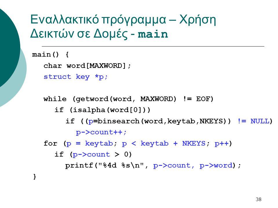 Εναλλακτικό πρόγραμμα – Χρήση Δεικτών σε Δομές - main