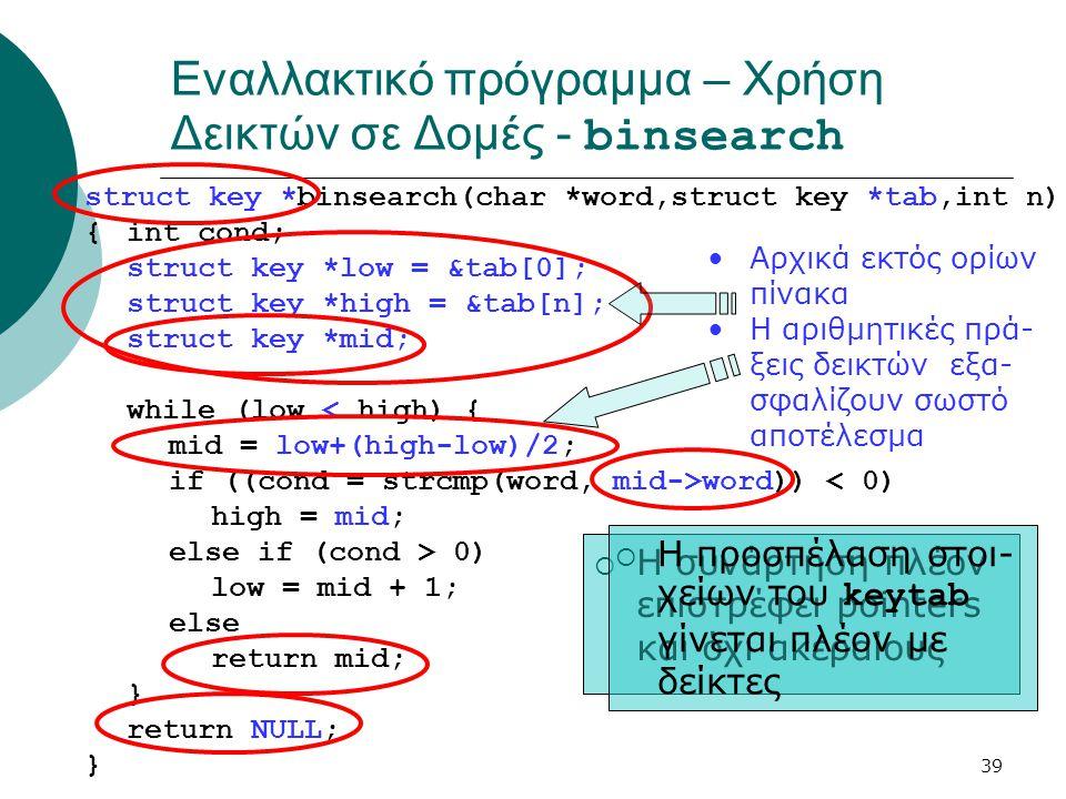 Εναλλακτικό πρόγραμμα – Χρήση Δεικτών σε Δομές - binsearch