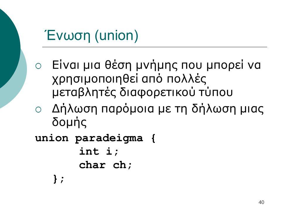 Ένωση (union) Είναι μια θέση μνήμης που μπορεί να χρησιμοποιηθεί από πολλές μεταβλητές διαφορετικού τύπου.
