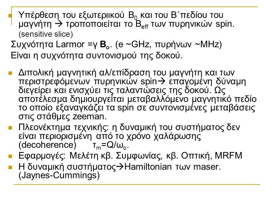 Συχνότητα Larmor =γ Βo. (e ~GHz, πυρήνων ~MHz)