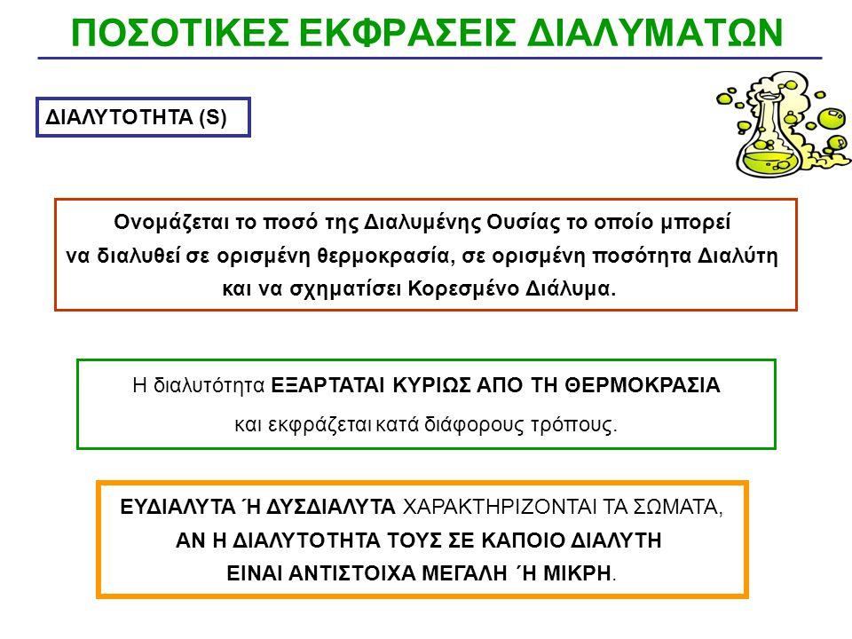 ΠΟΣΟΤΙΚΕΣ ΕΚΦΡΑΣΕΙΣ ΔΙΑΛΥΜΑΤΩΝ