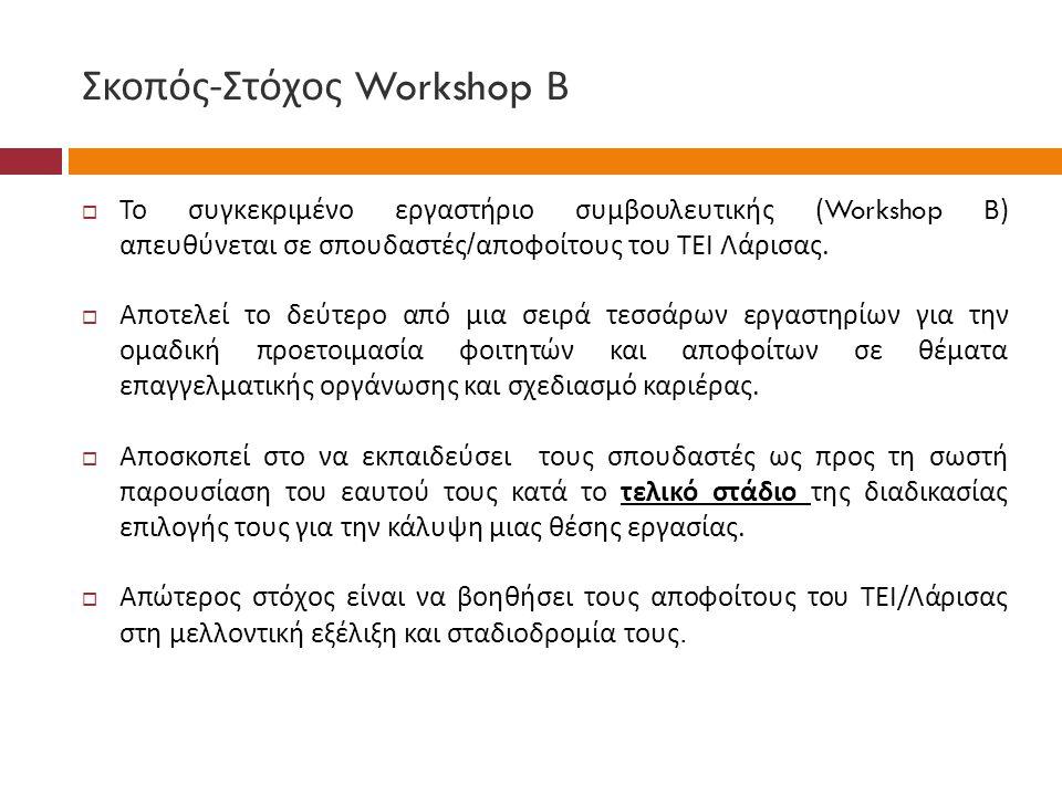 Σκοπός-Στόχος Workshop Β