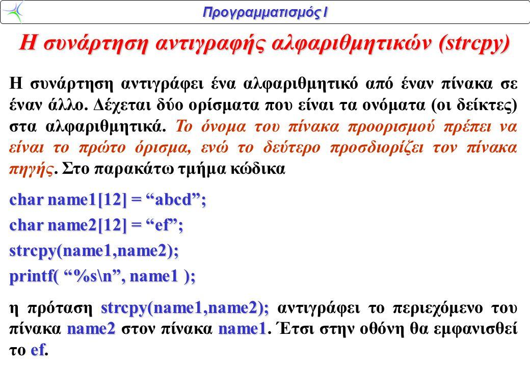 Η συνάρτηση αντιγραφής αλφαριθμητικών (strcpy)