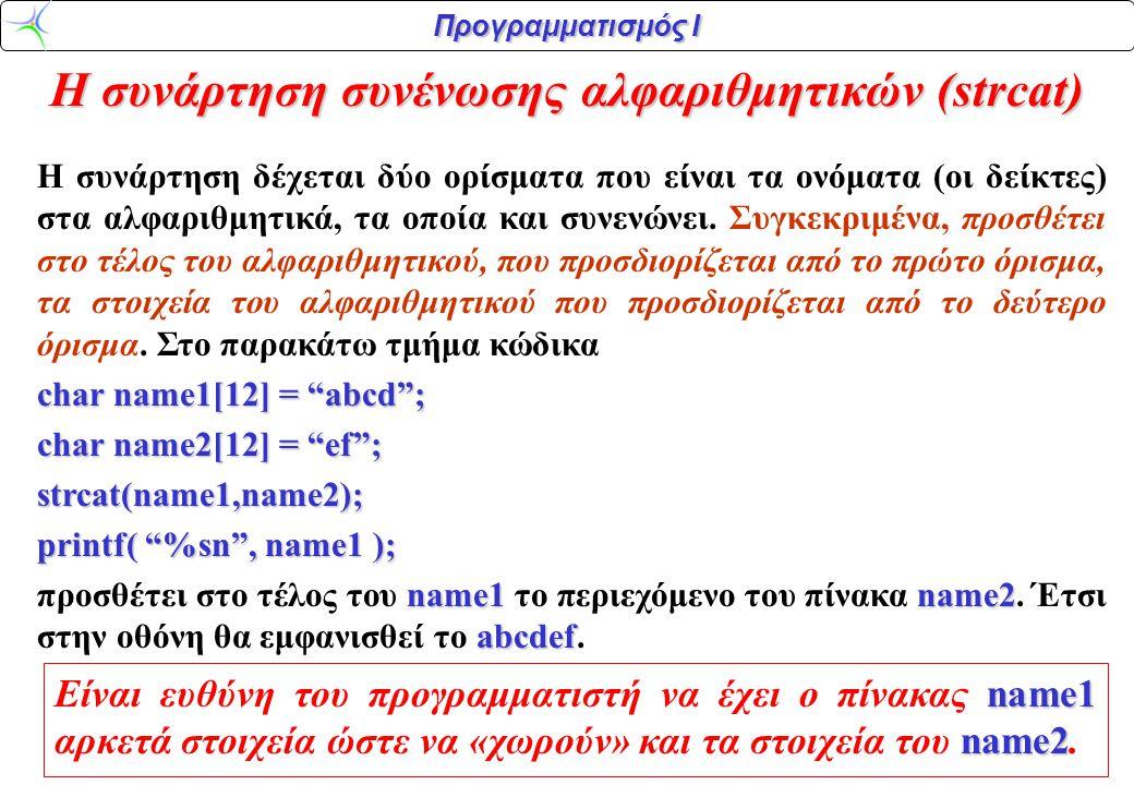 Η συνάρτηση συνένωσης αλφαριθμητικών (strcat)