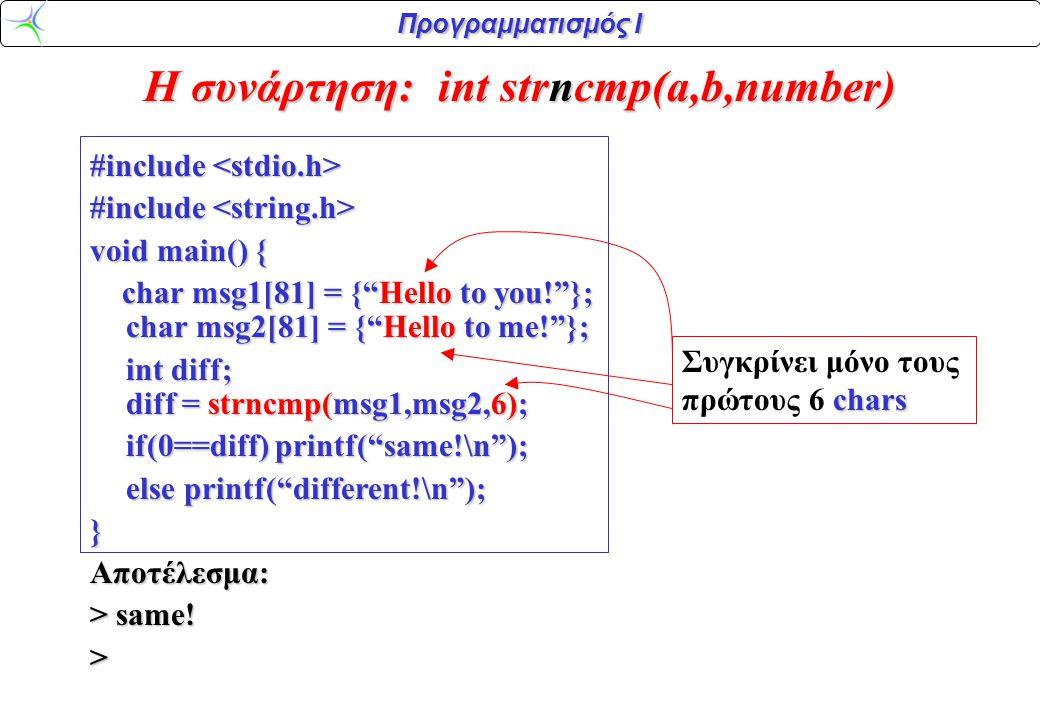 H συνάρτηση: int strncmp(a,b,number)