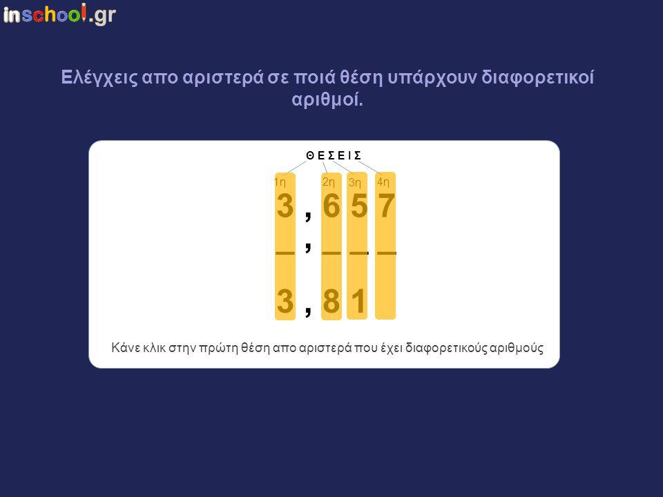 Ελέγχεις απο αριστερά σε ποιά θέση υπάρχουν διαφορετικοί αριθμοί.