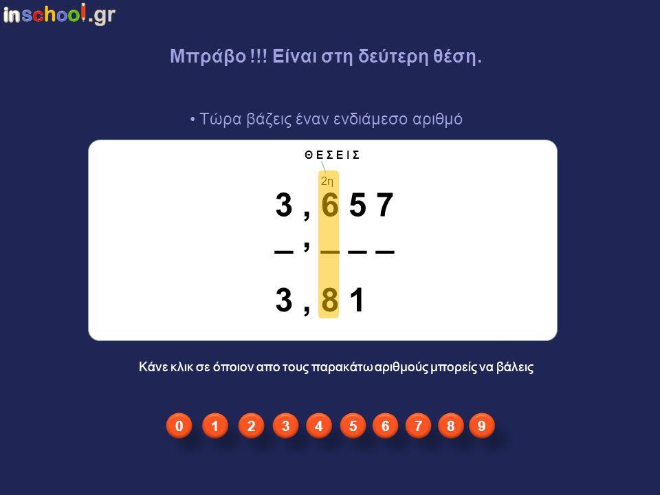 3 , 6 5 7 _ , _ _ _ 3 , 8 1 Μπράβο !!! Είναι στη δεύτερη θέση.