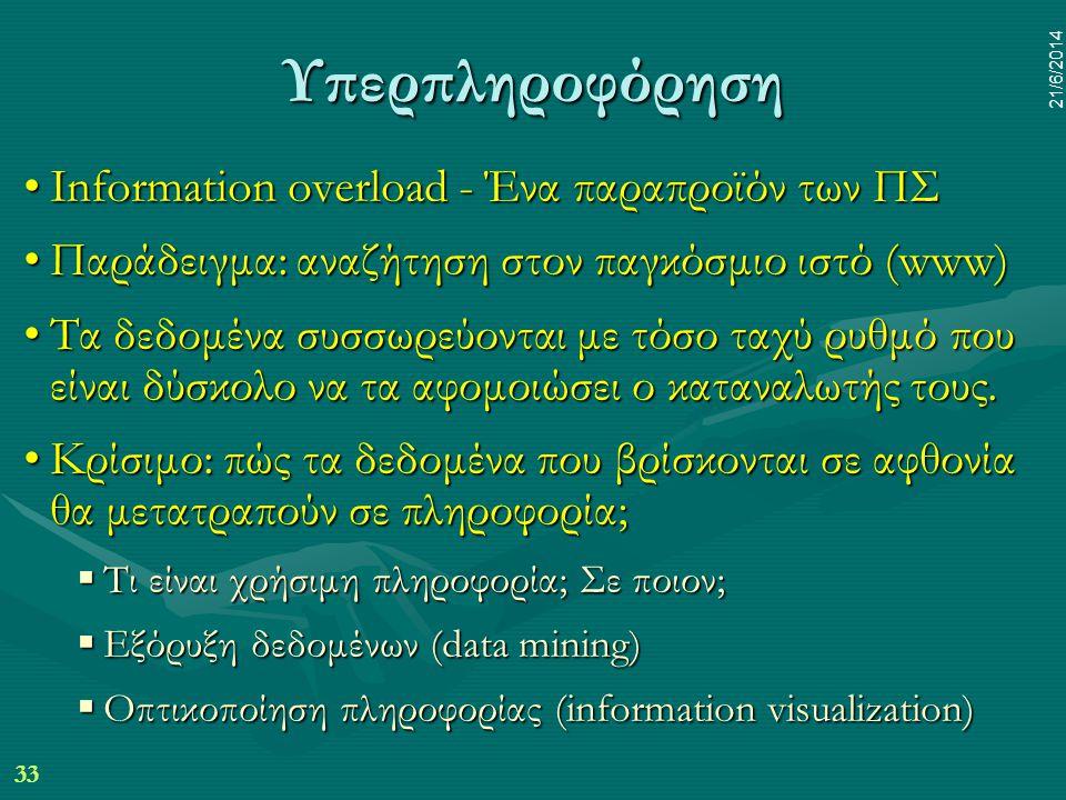 Υπερπληροφόρηση Information overload - Ένα παραπροϊόν των ΠΣ