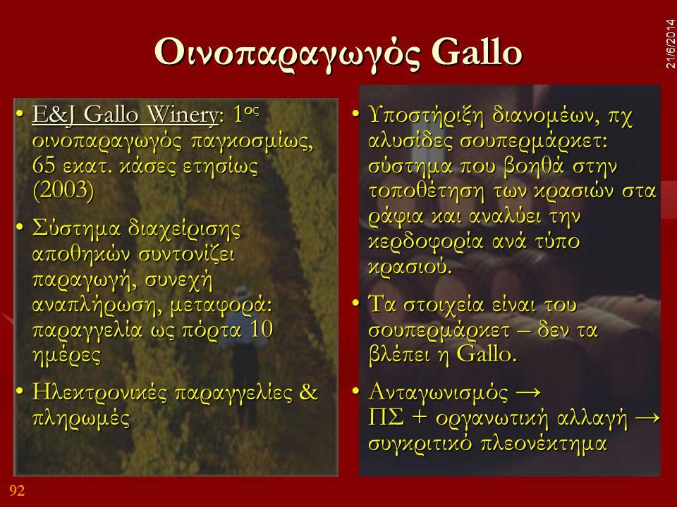 Οινοπαραγωγός Gallo 2/4/2017. E&J Gallo Winery: 1ος οινοπαραγωγός παγκοσμίως, 65 εκατ. κάσες ετησίως (2003)