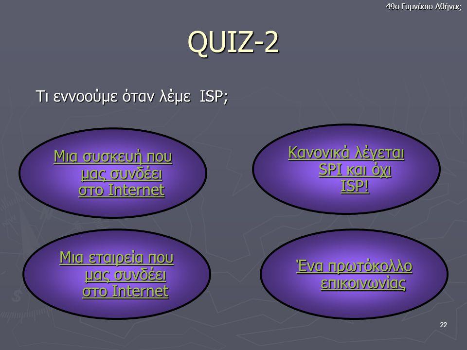 QUIZ-2 Τι εννοούμε όταν λέμε ISP; Κανονικά λέγεται SPI και όχι ISP!