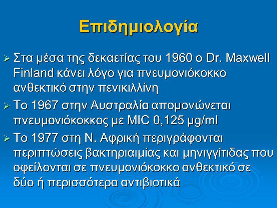 Επιδημιολογία Στα μέσα της δεκαετίας του 1960 ο Dr. Maxwell Finland κάνει λόγο για πνευμονιόκοκκο ανθεκτικό στην πενικιλλίνη.