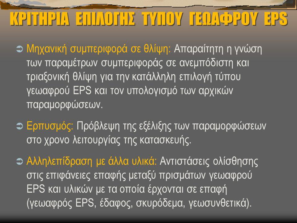 ΚΡΙΤΗΡΙΑ ΕΠΙΛΟΓΗΣ ΤΥΠΟΥ ΓΕΩΑΦΡΟΥ EPS