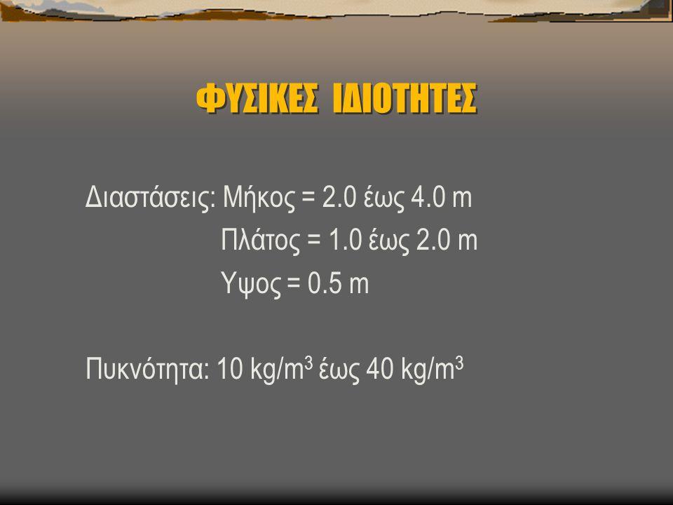 ΦΥΣΙΚΕΣ ΙΔΙΟΤΗΤΕΣ Διαστάσεις: Μήκος = 2.0 έως 4.0 m
