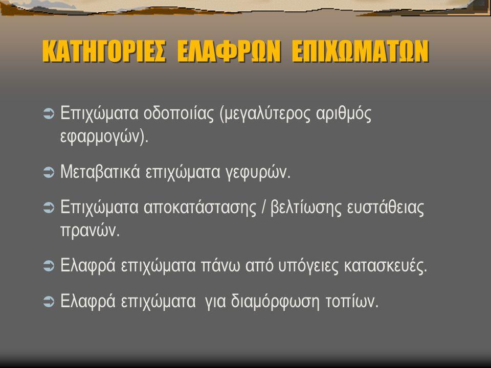 ΚΑΤΗΓΟΡΙΕΣ ΕΛΑΦΡΩΝ ΕΠΙΧΩΜΑΤΩΝ