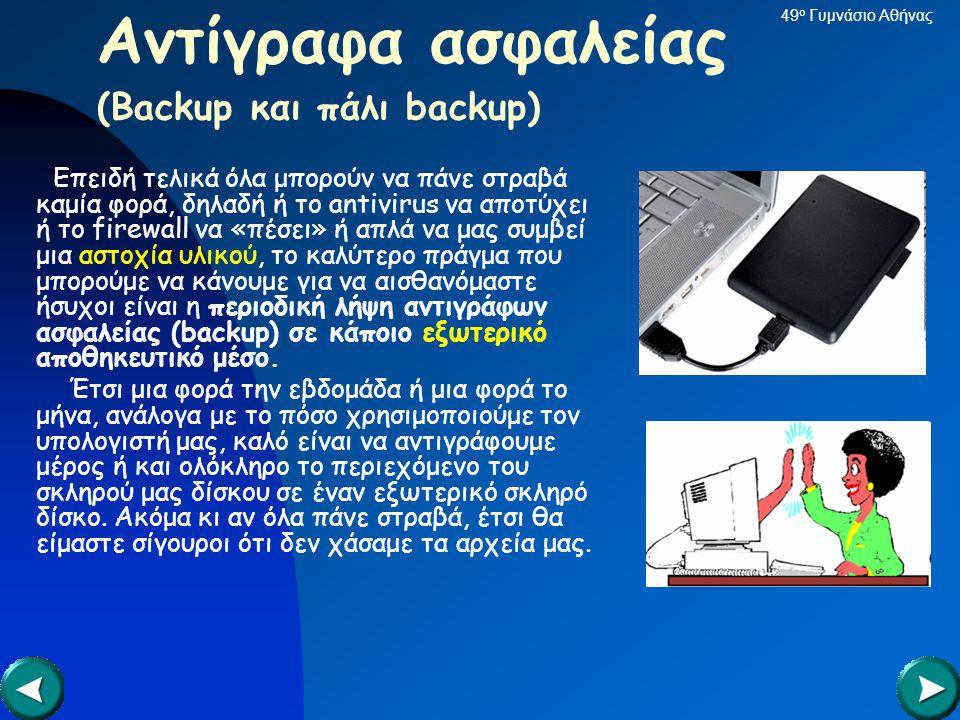 Αντίγραφα ασφαλείας (Backup και πάλι backup)