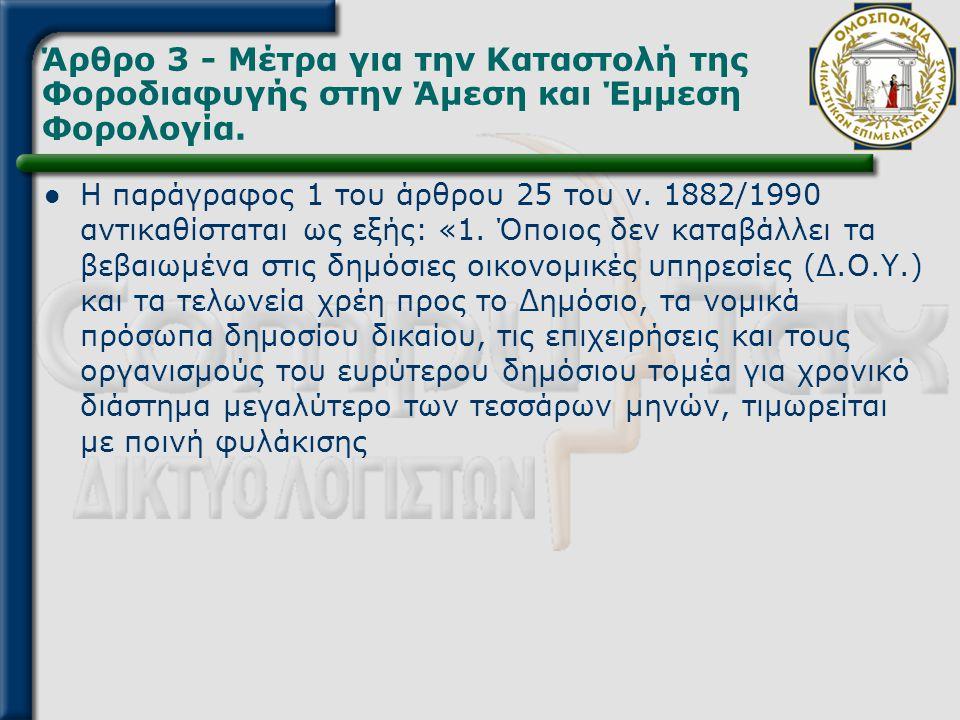 Άρθρο 3 - Μέτρα για την Καταστολή της Φοροδιαφυγής στην Άμεση και Έμμεση Φορολογία.