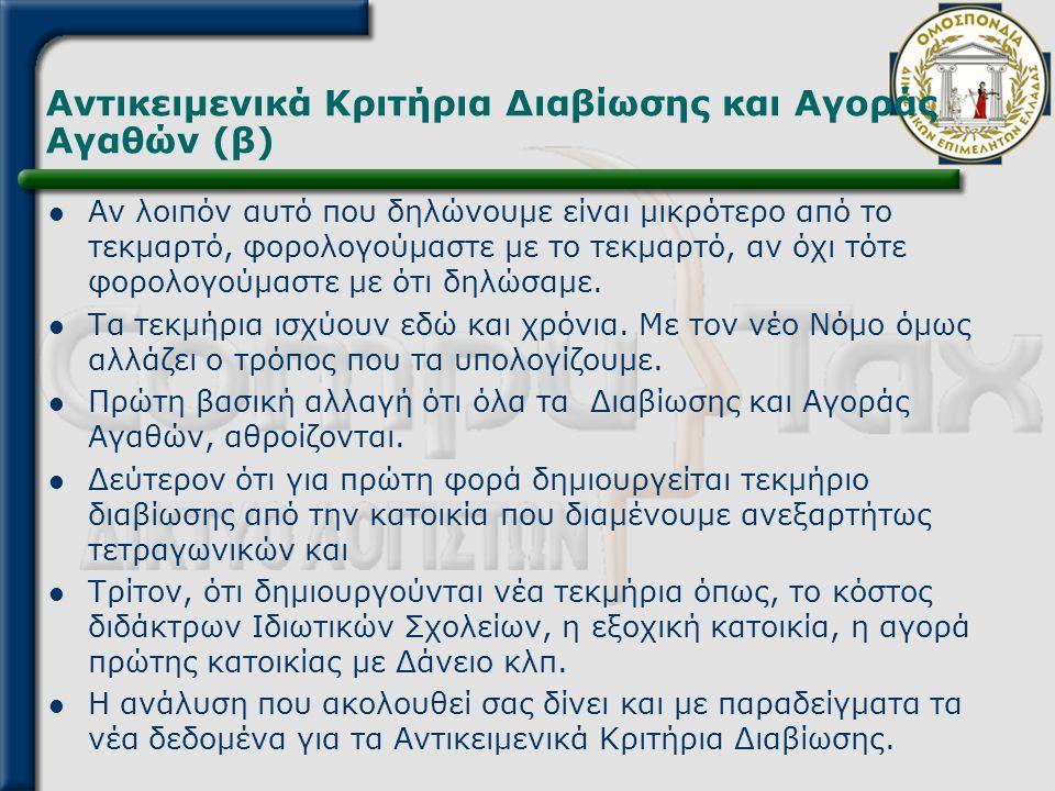 Αντικειμενικά Κριτήρια Διαβίωσης και Αγοράς Αγαθών (β)