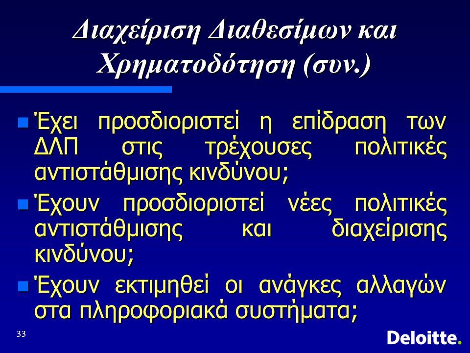 Διαχείριση Διαθεσίμων και Χρηματοδότηση (συν.)