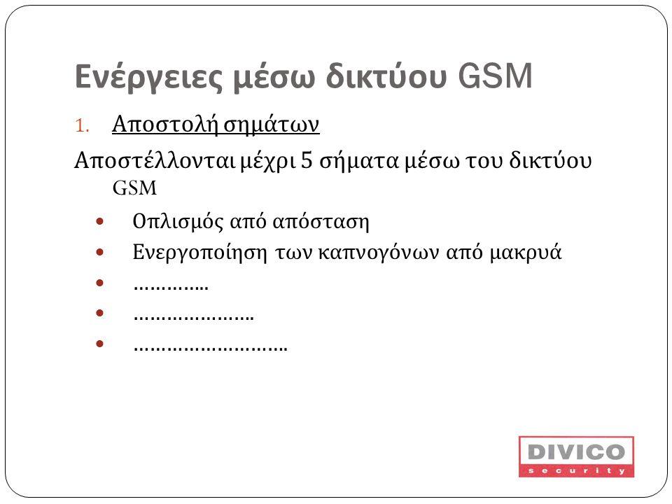 Ενέργειες μέσω δικτύου GSM