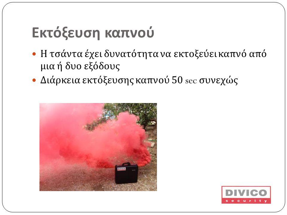 Εκτόξευση καπνού Η τσάντα έχει δυνατότητα να εκτοξεύει καπνό από μια ή δυο εξόδους.