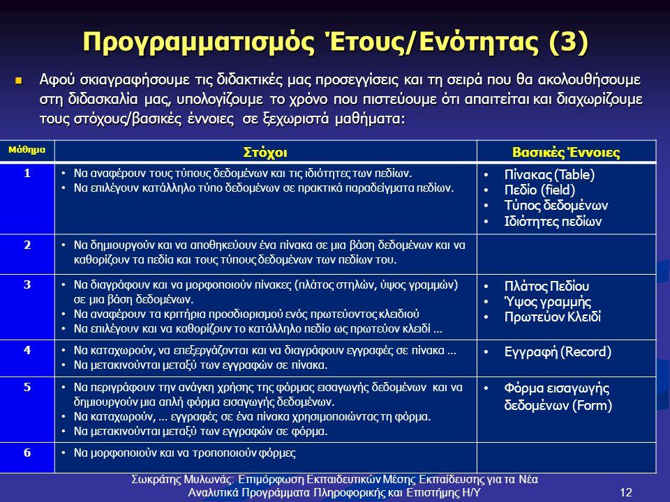 Προγραμματισμός Έτους/Ενότητας (3)