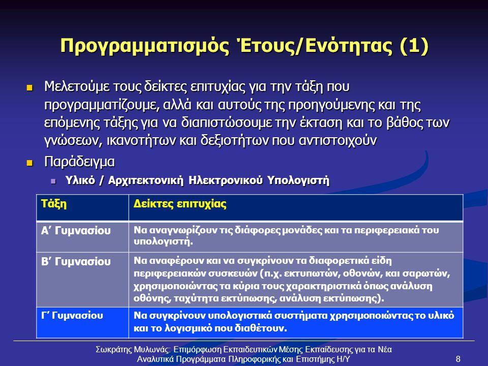 Προγραμματισμός Έτους/Ενότητας (1)