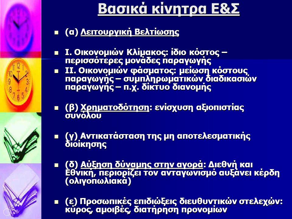 Βασικά κίνητρα Ε&Σ (α) Λειτουργική Βελτίωσης