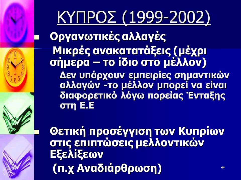 ΚΥΠΡΟΣ (1999-2002) Οργανωτικές αλλαγές