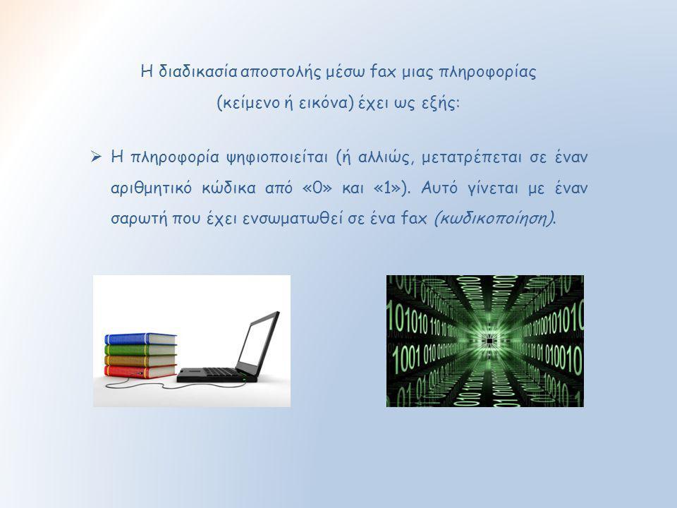Η διαδικασία αποστολής μέσω fax μιας πληροφορίας
