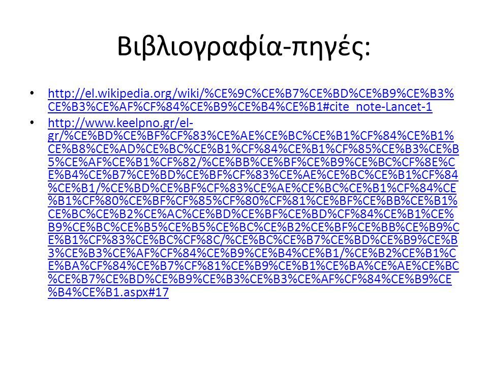 Βιβλιογραφία-πηγές: http://el.wikipedia.org/wiki/%CE%9C%CE%B7%CE%BD%CE%B9%CE%B3%CE%B3%CE%AF%CF%84%CE%B9%CE%B4%CE%B1#cite_note-Lancet-1.