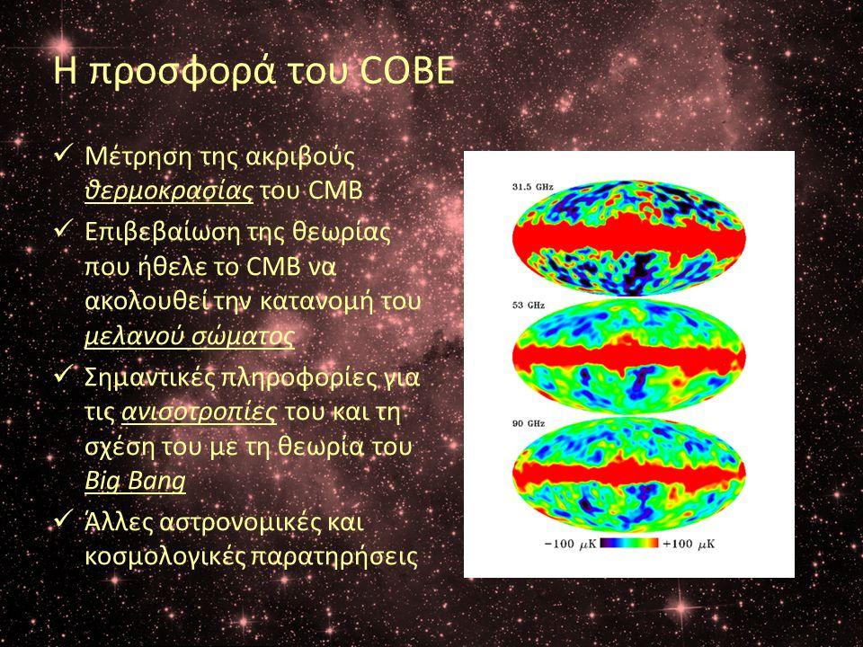 Η προσφορά του COBE Μέτρηση της ακριβούς θερμoκρασίας του CMB