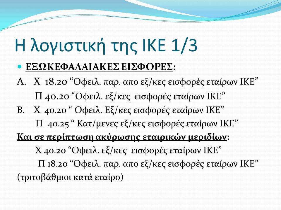 Η λογιστική της ΙΚΕ 1/3 ΕΞΩΚΕΦΑΛΑΙΑΚΕΣ ΕΙΣΦΟΡΕΣ: