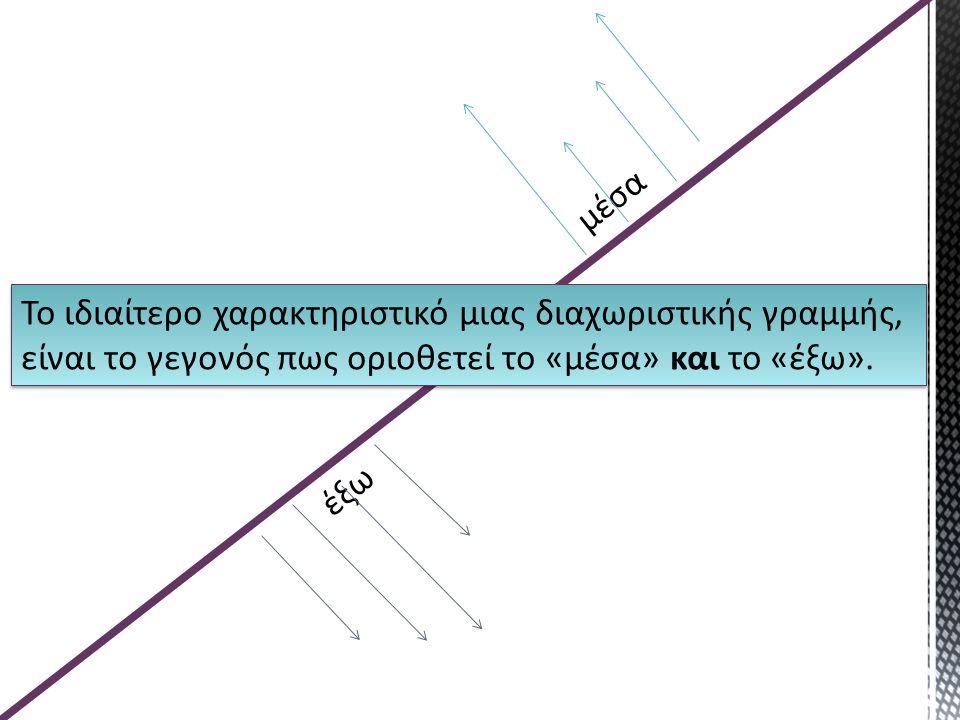 μέσα Το ιδιαίτερο χαρακτηριστικό μιας διαχωριστικής γραμμής, είναι το γεγονός πως οριοθετεί το «μέσα» και το «έξω».