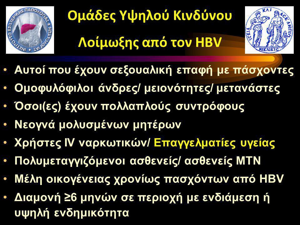 Ομάδες Υψηλού Κινδύνου Λοίμωξης από τον HBV