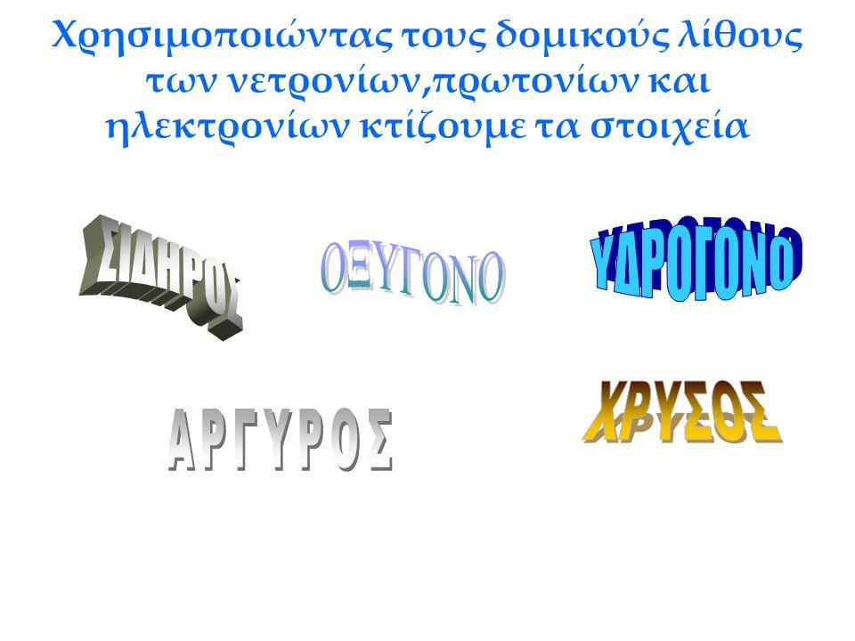 ΥΔΡΟΓΟΝΟ ΣΙΔΗΡΟΣ ΟΞΥΓΟΝΟ ΧΡΥΣΟΣ ΑΡΓΥΡΟΣ