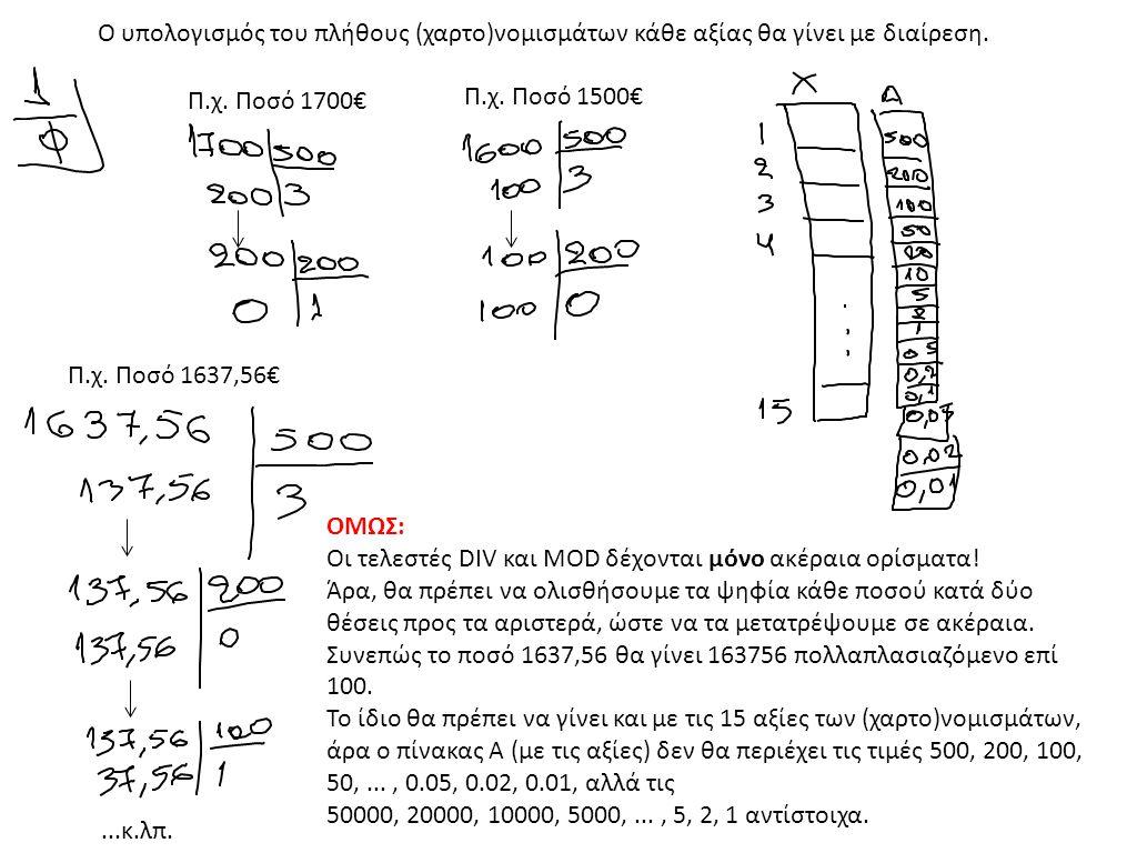 Ο υπολογισμός του πλήθους (χαρτο)νομισμάτων κάθε αξίας θα γίνει με διαίρεση.