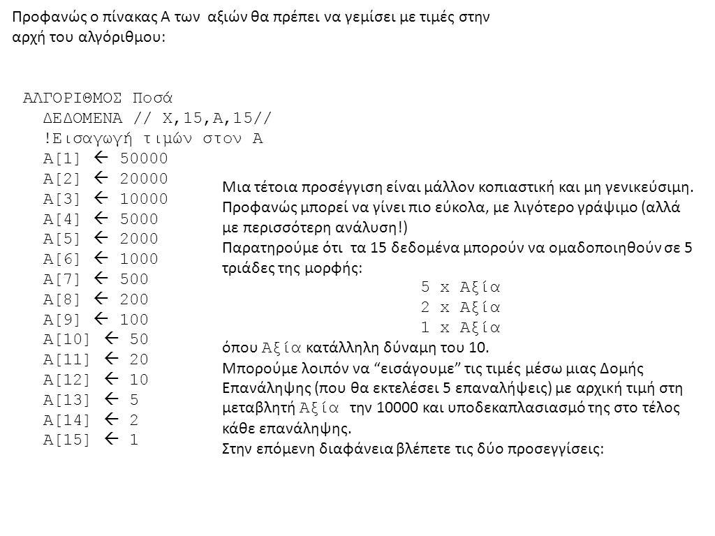 Προφανώς ο πίνακας Α των αξιών θα πρέπει να γεμίσει με τιμές στην αρχή του αλγόριθμου: