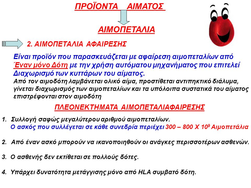 ΠΡΟΪΟΝΤΑ ΑΙΜΑΤΟΣ ΑΙΜΟΠΕΤΑΛΙΑ 2. ΑΙΜΟΠΕΤΑΛΙΑ ΑΦΑΙΡΕΣΗΣ