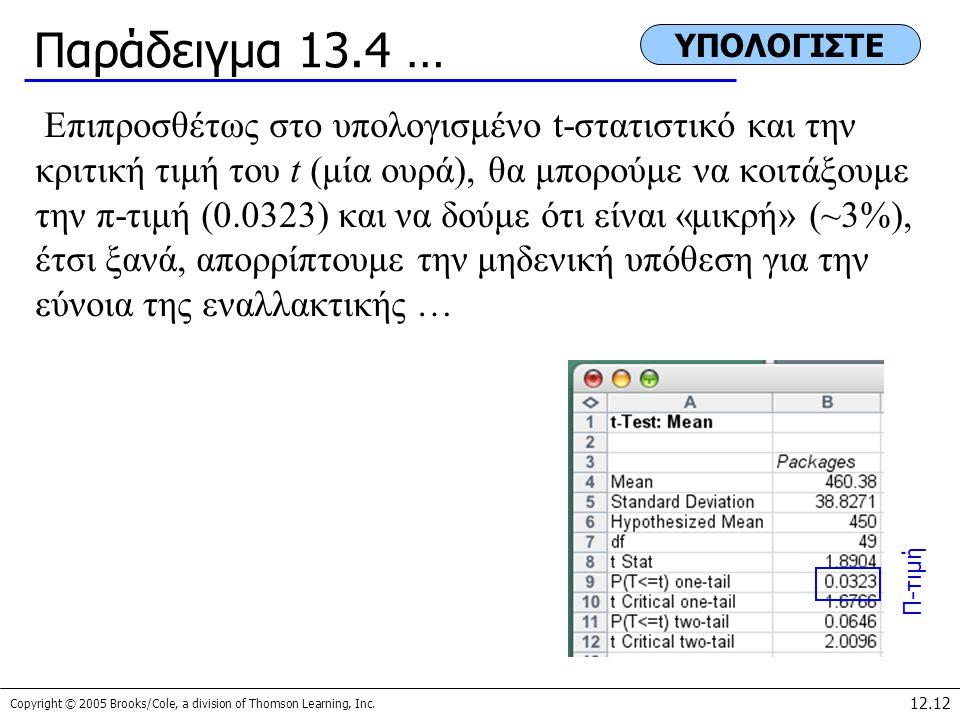 Παράδειγμα 13.4 … ΥΠΟΛΟΓΙΣΤΕ.