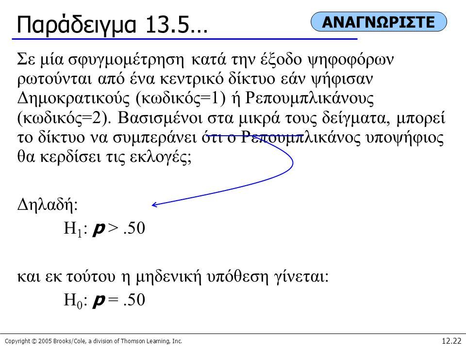 Παράδειγμα 13.5… ΑΝΑΓΝΩΡΙΣΤΕ.