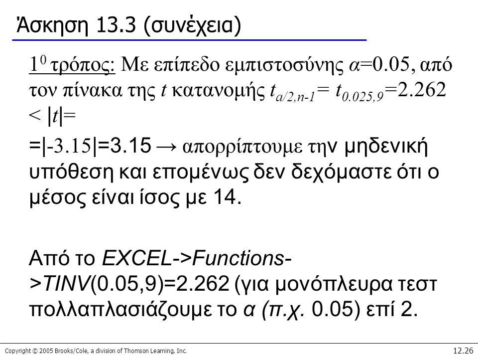 Άσκηση 13.3 (συνέχεια) 10 τρόπος: Με επίπεδο εμπιστοσύνης α=0.05, από τον πίνακα της t κατανομής ta/2,n-1= t0.025,9=2.262 < |t|=
